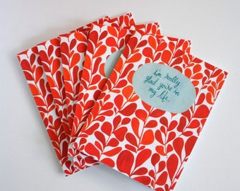 Glad You're in My Life greeting cards - hand painted set of five 5.5 x 4