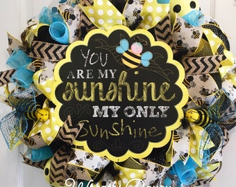 Summer Wreath Bumblebee Wreath You Are My Sunshine Yellow Black Deco Mesh Wreath Bumble Bee Wreath Door Decor **MADE TO ORDER**