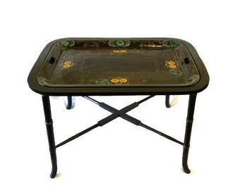 Hollywood Regency Faux Bamboo Tole Tray Coffee Table