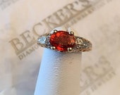 Reserved for jxbair payment 2 of 2 14k Oval Round Created Orange Sapphire Ring 2 Diamond Accents with Filigree and Milgrain Design size 7.25