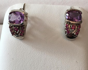 Vintage pair of sterling silver tapered filigree J hoop earrings with Amethysts and Rhodolite Garnets with posts and backs, over 3.50 tw