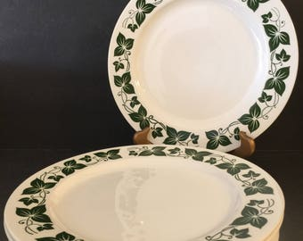 Homer Laughlin Dinner Plates Green Ivy | Set of 6 | Made in USA | Replacement China | Vintage Kitchen Decor | Cottage Style Dinnerware