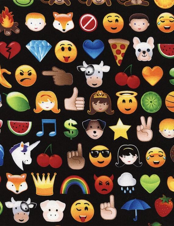 Emoji fabric by the yard emoticons fabric emojis fabric for Emoji material by the yard