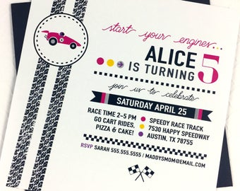 Girl Race Car Invitation - Pink Race Car Invitation - Girl Race Car Birthday - Girl Racing Invitation - Pink and Black Racecar Invitation