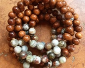 Stackable Mala Inspired Bayong Wood + Mexican Crazy Lace Agate Yoga and Meditation Bracelet (Single Bracelet)
