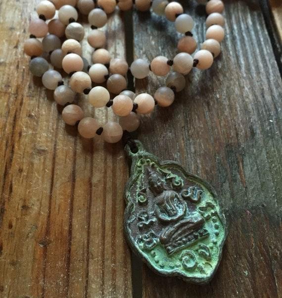 108 Bead Handknotted Matte Sunstone + Patina Buddha Spiritual Junkies Yoga and Meditation Mini Mala (6 mm)