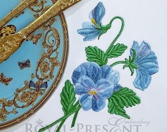 Machine Embroidery Design blue pansy viola flowers bouquet - 2 sizes