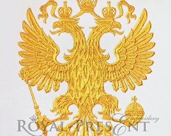 Machine Embroidery Design Emblem of Russia Double-headed eagle - 3 sizes