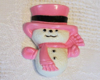 Avon Snowman Pin Pal Fragrance Glace - 1974 Snowman with Pink Top Hat, Scarf & Mittens - Avon Pin