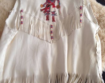 HAND PAINTEd AMERICAN INDIAN FRINGe SUEDe VESt