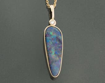 Opal pendant, opal necklace gold, black opal 14K gold, doublet opal gold pendant, natural opal pendant, black opal doublet & diamond pendant