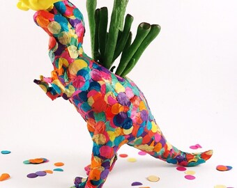T-Rex planter, dinosaur planter, planter, air planter, confetti
