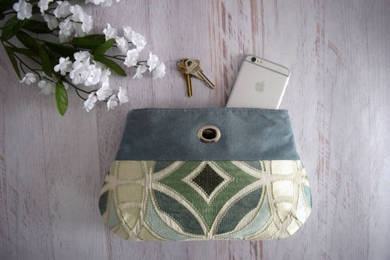 Mosaic Inspired Clutch Made with Recycled Fabric. Blue, Green and White Handmade Clutch. Eco Friendly Bag with Turn Lock Close and Pocket