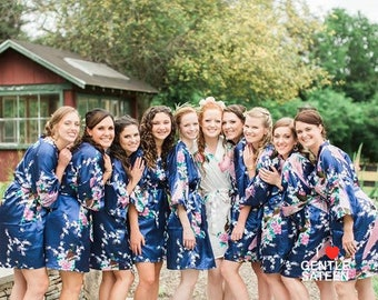 17 Colors, Bridesmaid Robes, Bridesmaid Gift, Satin Kimono Robe, Floral Bridesmaid Robe, Set of Floral Satin Bridesmaid Robes, Ship from USA