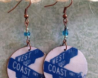 Up-cycled West Coast Earrings, cardboard decoupage earrings