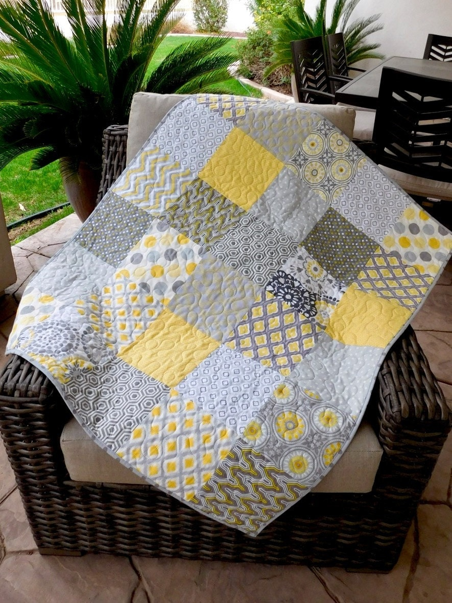 Yellow And Grey Baby Quilt Baby Bedding Crib By