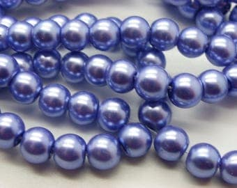 100 glass beads 8 mm Denim Blue