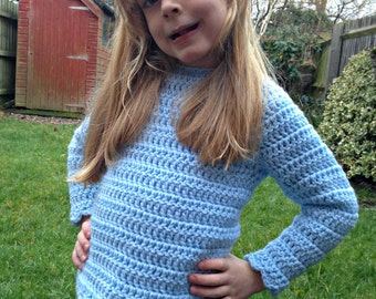 Scalloped Jumper - Girls Jumper - Crochet Jumper - Girls Sweater - Crochet Sweater
