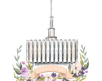 LDS Provo temple, Latter Day Saint, Mormon art, young woman's gift, floral banner, I love to see the temple print