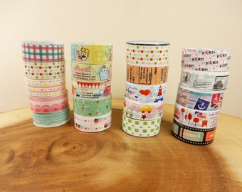 Travel Themed Washi Tape, 2m Japanese Tape, Glossy Tape, Journal Supply, Patterned Washi Tape