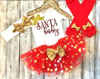 Girls christmas outfit, baby girl christmas, santa baby christmas outfit, santa baby, red and gold christmas outfit, newborn first christmas