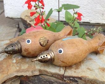 Vintage Enesco Wooden FLORIDA Salt and Pepper Shakers Sharks RARE