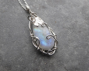 Moonstone Silver Pendant, Maple Leaf Pendant, Moonstone Necklace, Leaf Necklace, Wire Wrapped Jewelry, Petite Jewelry Gift for Her