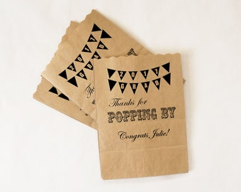 Graduation Party Favor Bags, Class of 2017 - Popcorn, Peanuts, Candy, Treat Bags - Personalized, Customized - Kraft Paper Bags