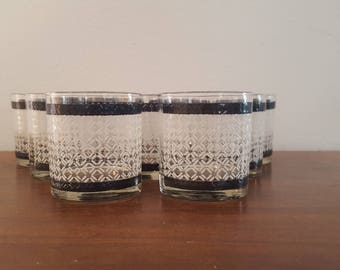 Morgan Lowball Glasses - White checkered - Set of 9