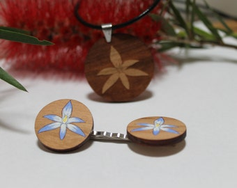 Wood Pendant Necklace and Flower Bobbypin Set, Handpainted Flower Pins, Laser Cut Wood Jewellery, Australian Flower, Sun Shy Orchid