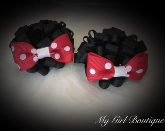 Mouse ears, red and white poke a dot Boutique bow clips