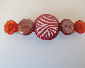 Red Zebra Print Bottle Cap Button Barrette, Birthday Gift, Gifts for her, Gifts for girls, Gifts for teens,Button Barrettes,Hair Accessories