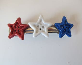 4th of July Button Patriotic Barrette, Birthday Gift, Gifts for her, Gifts for girls, Gifts for teens, Button Barrettes, Hair Accessories