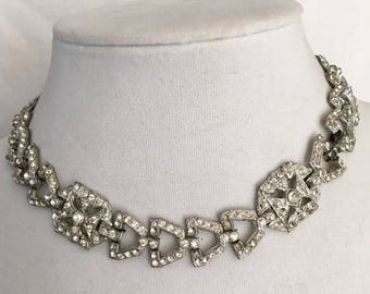Art Deco rhinestone paste choker beautiful wedding boho art style necklace classic and elegant