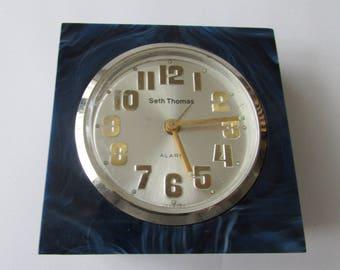 Vintage Blue Seth Thomas Alarm Clock Germany Hard Plastic Lucite Small Clock