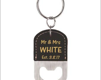 Wedding Favor Bottle Opener Key chain, Couple Key rings, Mr and Mrs Personalized Gift, Wedding Gift, Anniversary Gift, Personalized Key ring