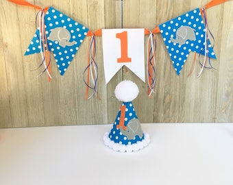 1st birthday hat - elephant theme birthday hat and banner - first party hat - photo prop - first birthday hat - boys birthday hat - boys 1st
