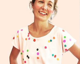 Confetti 100% organic cotton jersey ladies sleeve top