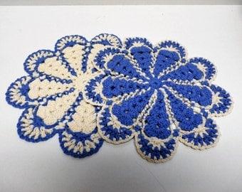 Handmade set of 2 Cream and Periwinkle Snowflake Pattern Crochet Trivet Potholder