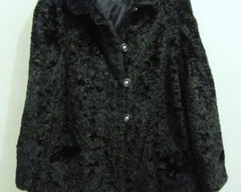 Marked Down 50%@@A Women's Vintage 60's,GORGEOUS Black Faux CURLY LAMB Swing Coat.L