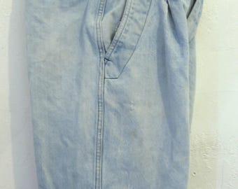 Men's Early 90's GRUNGED long Blue,Pleat Front DENIM Surfer Shorts by GOTCHA.29W