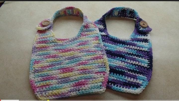 Crochet Cotton Baby Bib Pattern : Easy Crochet Cotton Baby Bib Pattern DIGITAL DOWNLOAD ONLY