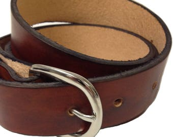 """Mens Leather Belt 1.25"""" Wide Choose Size and Color Black or Brown 