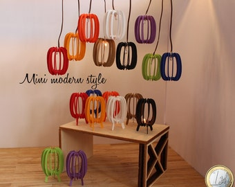 Modern chandeliers table or suspended in colored cardboard in scale 1:12 for dollshouse (Cod. I001-I002)
