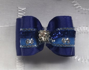 Dog Bow - 5/8 Royal Blue with rhinestone bow