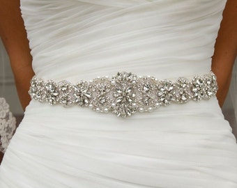 Wedding Dress Belt sash, Wedding dress Belt, Rhinestone Belt, Crystal Sash, Hand Sewn  001