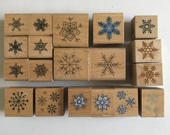Snowflakes Rubber Stamps Winter Christmas Hero Arts Inkadinkado PSX Lot of 19