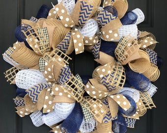 Navy and burlap wreath - burlap wreath -everyday wreath - year round wreath - burlap wreath front door - gift for her - burlap wreath door