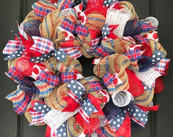 Patriotic wreath - 4th of July wreath - patriotic decor - patriotic door - Memorial Day - Memorial Day wreath - 4th of July decor - summer