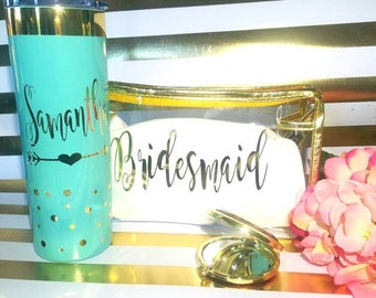 bridesmaid gift,personalized tumbler,bridal party,bachelorette party.bride gift.wedding tumbler.makeup bag.destination wedding.bridal gift